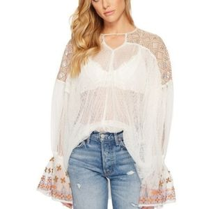 Free People Joyride Embroidered Tulle Sheer Top